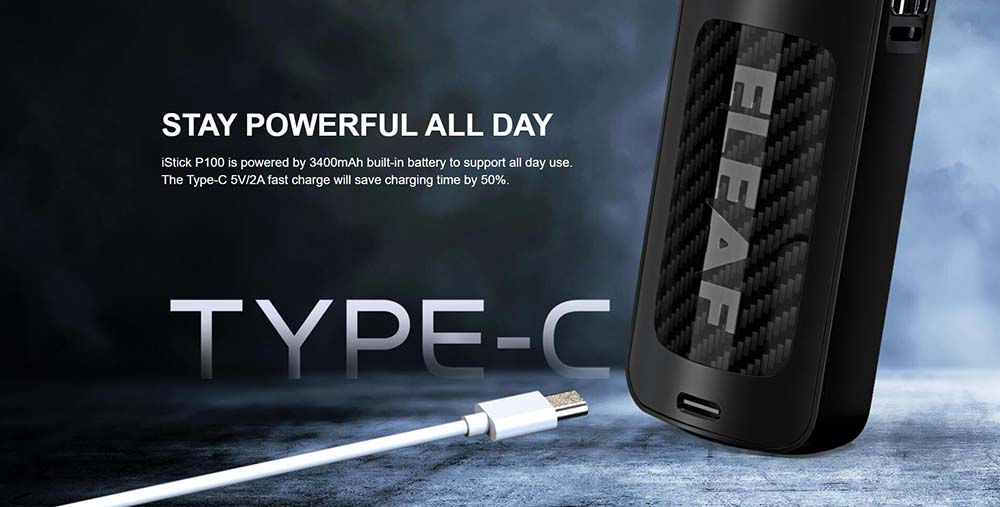 iStick P100 Built-in 3400mAh Battery And With Type-C Charging Port