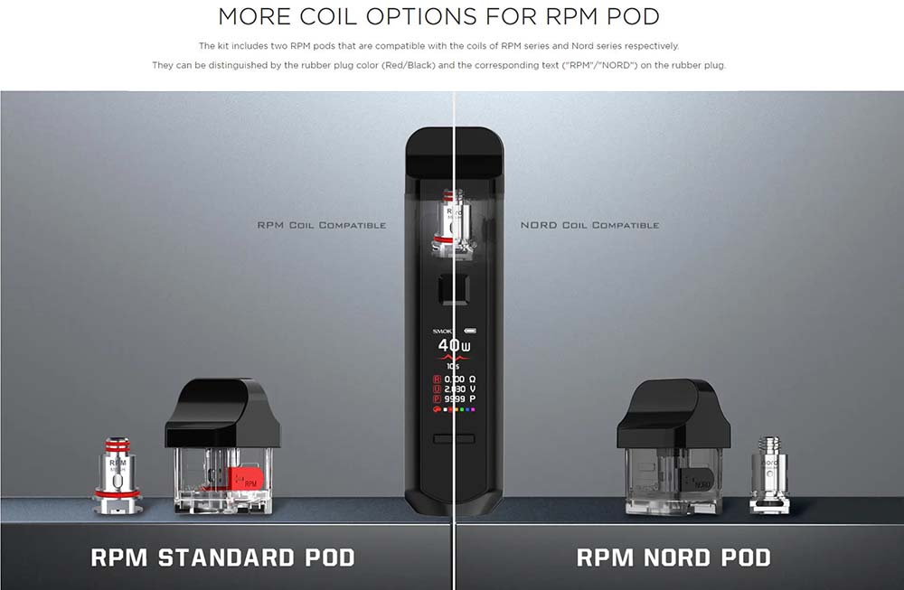 RPM40 With 2 Types Pods For More Coil Options