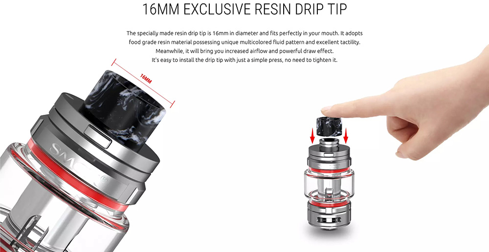 TFV16 Vaporizeer With 16mm Exclusive Resin Drip Tip