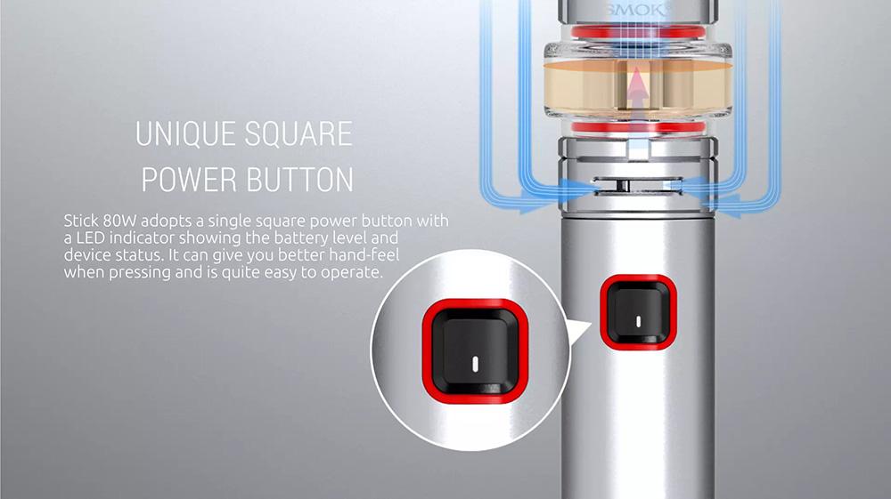 Stick 80W Vape Pen With Unique Square Power Button