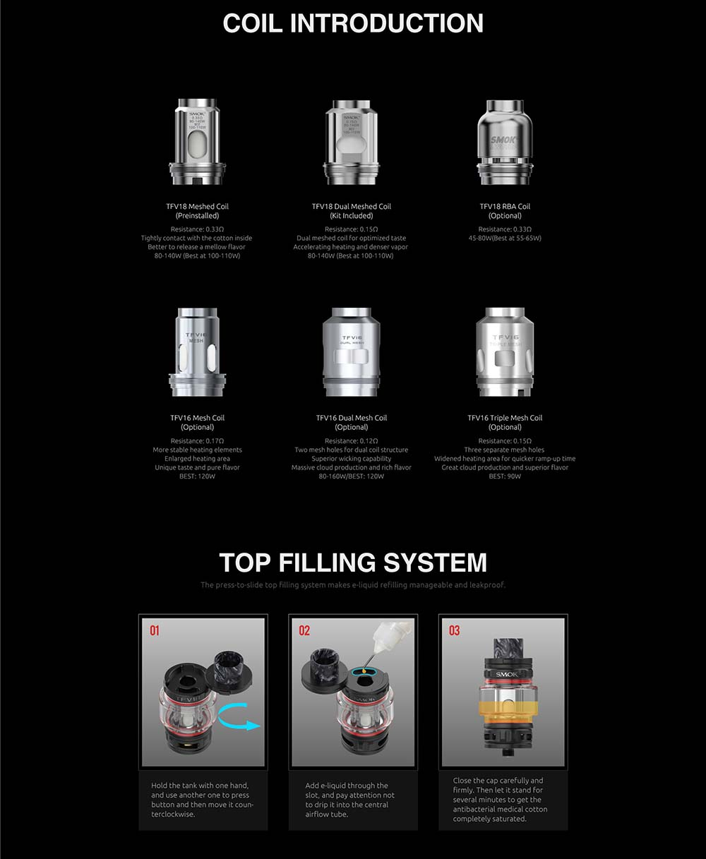 TFV18 Coils Available And How To Fill