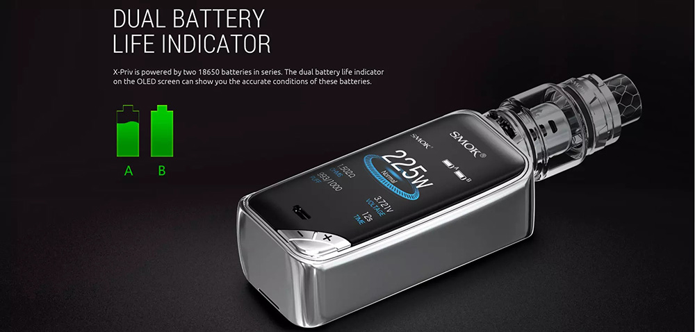 Smok X Priv Kit With Dual Battery Life Indicator