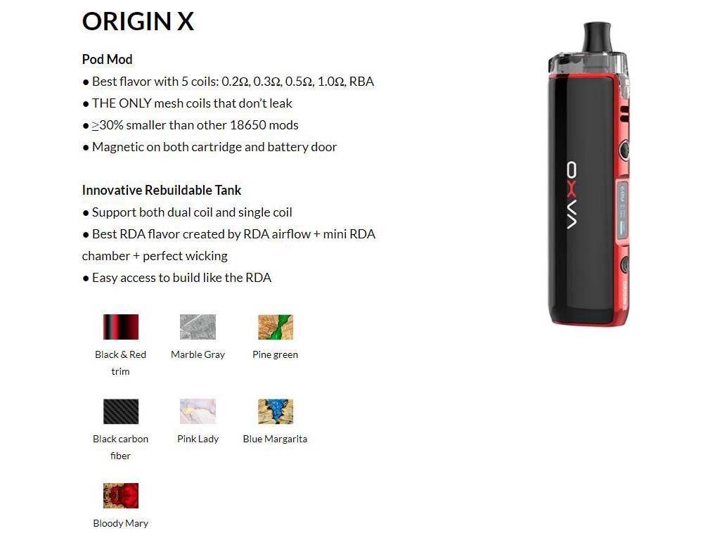 OXVA Origin X Pod Mod Kit Colors Available
