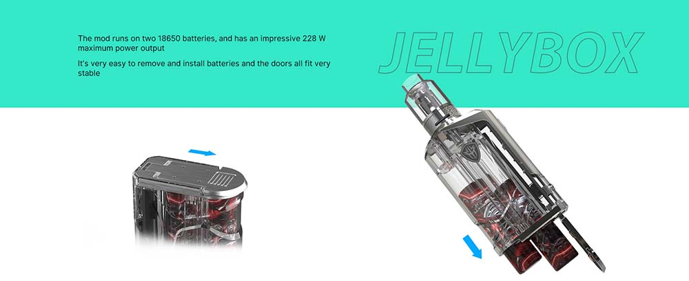 JellyBox 228W Kit Powered By Dual 18650 Batteries