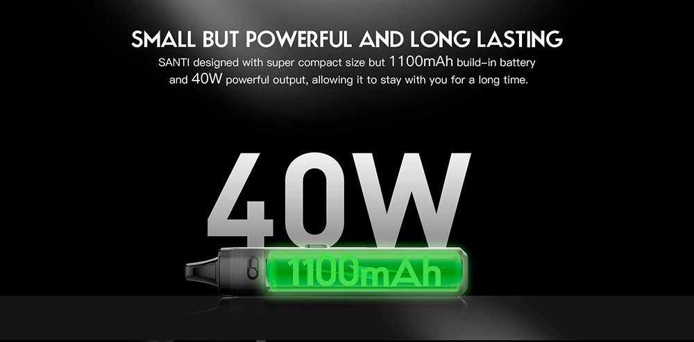 Santi Pod Kit Integrates 1100mAh Battery Max Output Power 40W