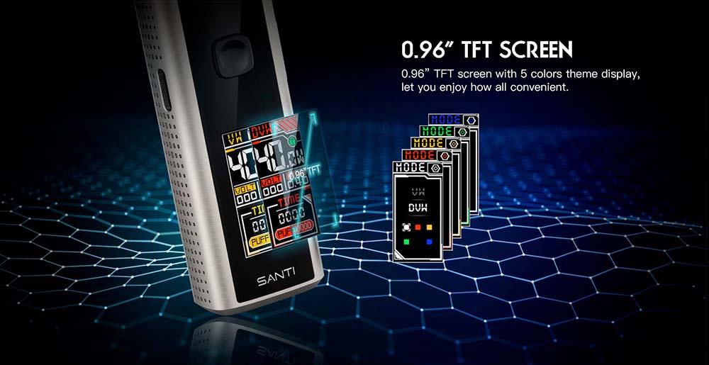 Smoant Santi Pod Kit Adopts 0.96inch TFT Screen