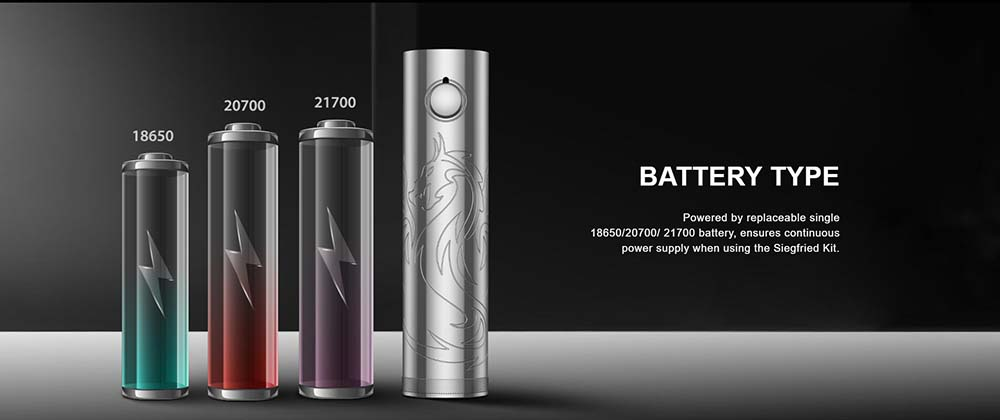 Vapefly Siegfried Kit Powered By 21700 20700 18650 Battery
