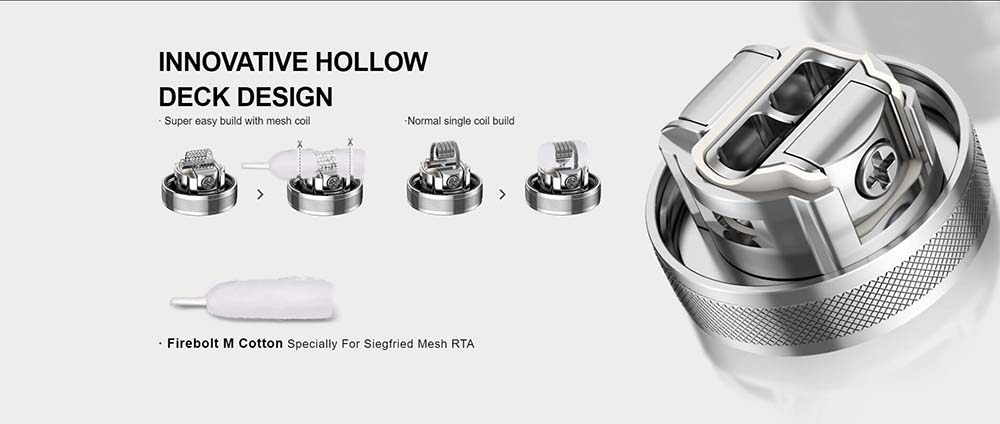 Vapefly Siegfried Mesh RTA With Innovative Hollow Deck Design