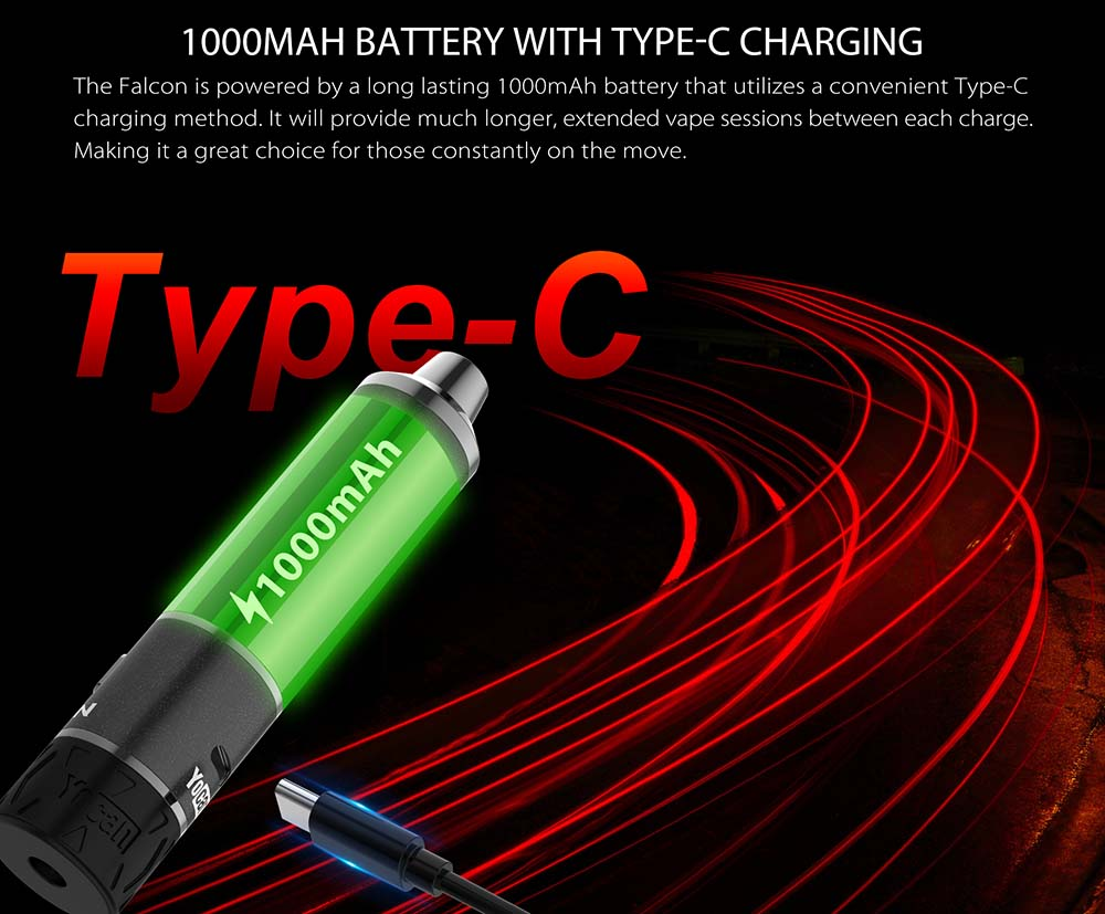 Yocan Falcon 6 In 1 Kit Integrates 1000mAh Battery With USB Type-C Charging Port